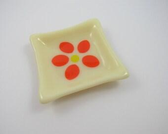 Fused Glass Orange Flower Dish