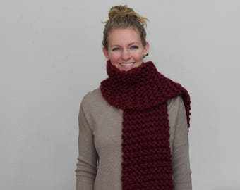 Bulky Burgundy Scarf Without Tassels