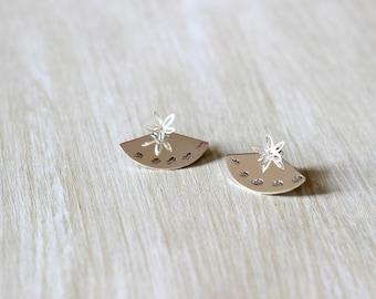 Ear Jacket leaf 925 Sterling Silver earrings