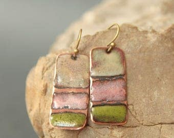 Copper Enamel Earrings