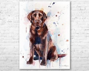 Chocolate Labrador watercolor painting print by Slaveika Aladjova, animal, illustration, home decor, Nursery, gift, Contemporary, dog art