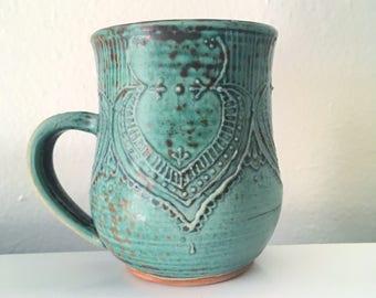 Henna-Inspired 12 oz Handmade Coffee/Tea Mug in Oxidized Green with Slip Detail