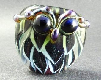 Soft Blue and Black Green Sparkle Dichroic Owl Focal - Lampwork Glass Bead - Handmade Glass Art Bead - OOAK Owl Bead