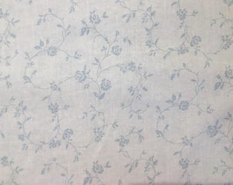 Light blue fabric by the yard - light blue floral fabric - blue flower fabric