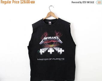 ON SALE LARGE Vintage 1994 Metallica Master of Puppets Custom-Ripped Sleeveless Tank Top