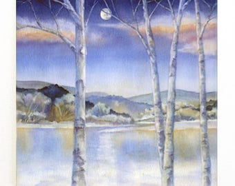 Moon and Winter Birch Trees Tile Trivet Original Watercolor