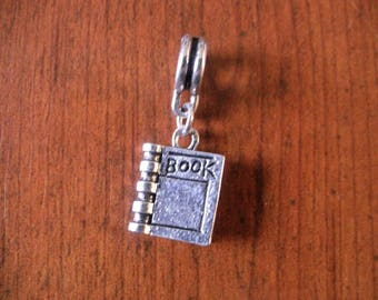 Silver book pendant silver book