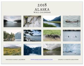 2018 Calendar SALE, Alaska Calendar, 2018 Wall Calendar, Nature Calendar, Nature Photography, Landscape Gift, Mountains Ocean Animals