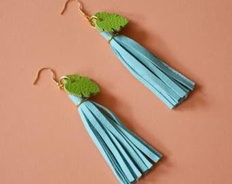 Tassel pastel earrings, Fringe festival earrings, Tassel blue earrings, Leather gift for wife, Colorful gift for girlfriend,Summer Christmas
