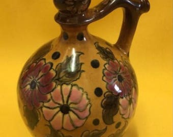 Antique Zsolnay Hungarian-  hand painted // fire mug / Flagon / vase // Circa 1880
