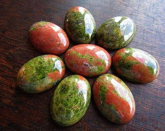 2 pcs Natural Unakite Cabochons 18x13mm Green Red Stone Cabochon Natural Gemstone Jewelry Craft Supplies