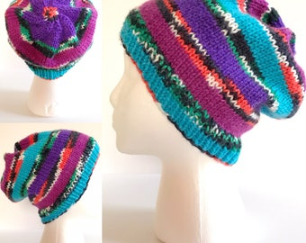 Neon Striped Knit Hat - READY TO SHIP