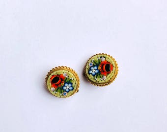 Round Inlaid Earrings