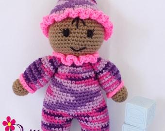 Baby Girl Doll / Crochet Baby Girl Doll / My First Doll / Stuffed Purple Baby Girl Doll / Plush Pink Baby Girl Doll / Crochet Stuffy
