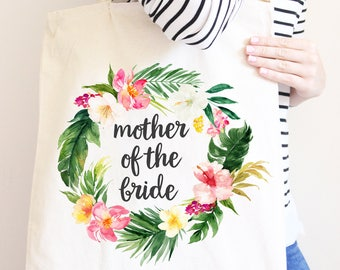 Mother Of The Bride, Personalized Canvas Tote Bag, Watercolor Flower Wreath