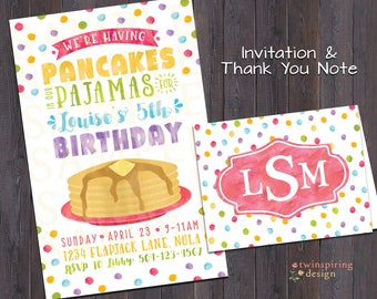 Pancake Pajama Birthday Party DIGITAL Invitation, Thank You Note, and/or Coloring Sheet Placemat