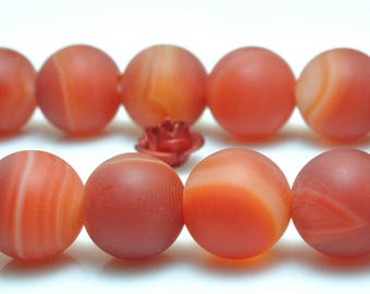 37 pcs of Red Banded Agate  matte round beads in 10mm