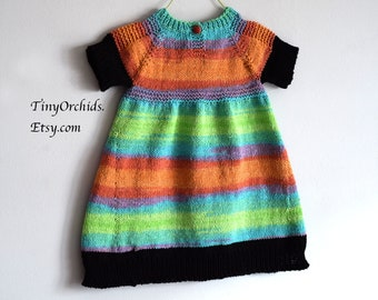 Baby girl Easter dress, infant dress, cotton dress, handknit dress in green, orange and black, 9 to 12 month, unique item