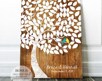 Wedding Guest book Alternative Wedding Canvas - Rustic Wedding Tree Guestbook Unique Guest book - Personalized Gift Bridal Guest Book Ideas