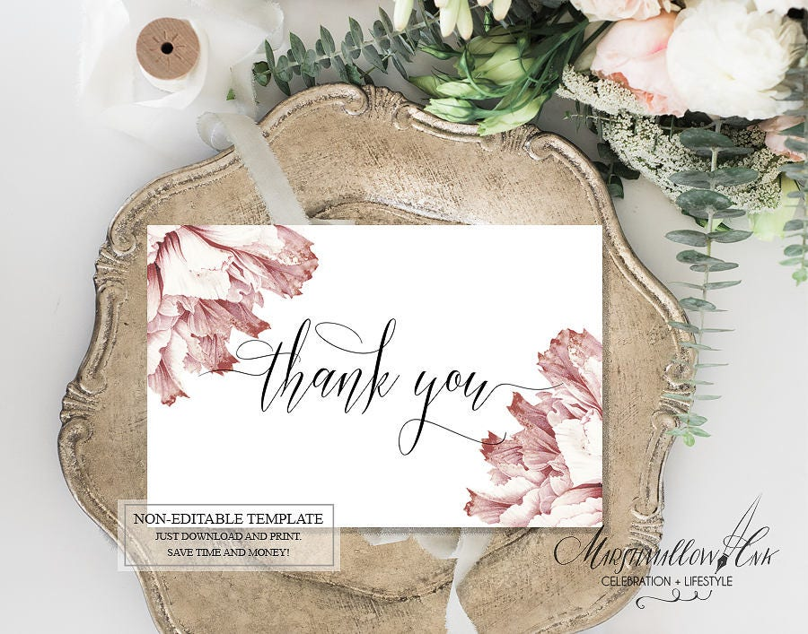 Bridal Thank you Card, Printable Wedding Thank you Card, Thank You Baby Shower DIY Wedding Thank You Card Set, Thank You Gift Cards Template