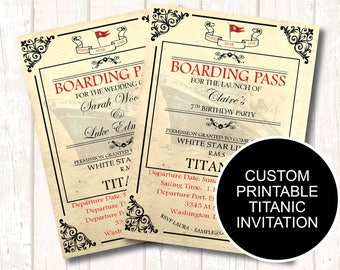 Titanic Birthday Invitation, Titanic Boarding Pass, Vintage Nautical Wedding Invitation, Titanic Birthday Party, Edwardian High Tea