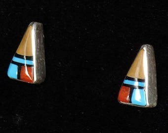 New! Zuni Stud Earrings Inlaid Jewelry Sterling Silver Turquoise Coral Jet Arrow by Andrea Laahty