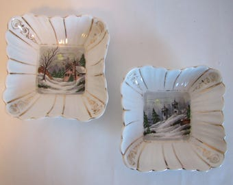 Set of Two Vintage Christmas Holiday Winter Porcelain Candy Nut Mint Dish Hand Painted Decor
