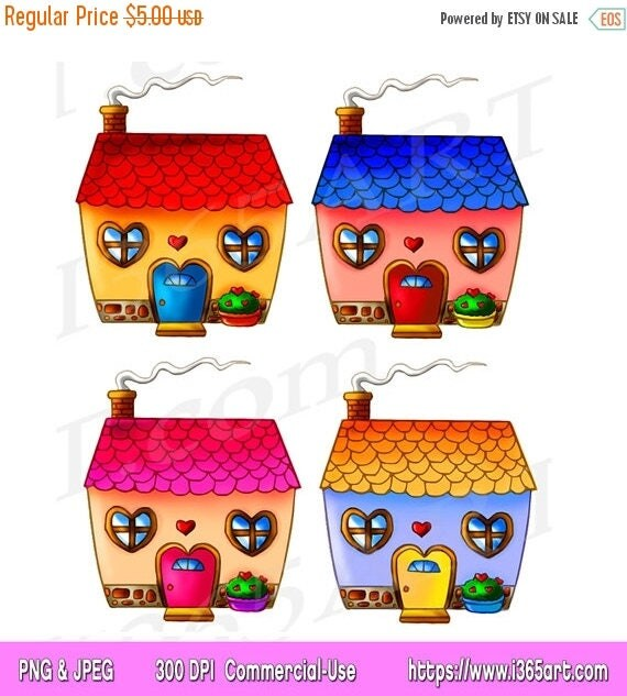 50 OFF Cute House Clipart Clip Art Houses Home Sweet Cottage Building Invitations Scrapbooking PNG