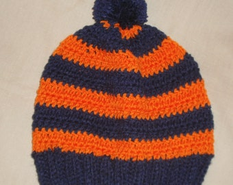 Wahoos Handknit crochet Navy Blue & Orange striped hat beanie