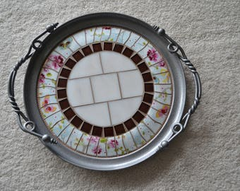 Vintage Aluminum Serving Tray with Broken China Mosaic Center and Ornate Twisted Handles