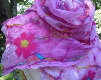 Sheer bright pink nuno felted scarf with floral pattern