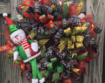 Snowman Wreath, Whimsical Christmas Wreath, Christmas Wreath for Front Door, Red and Green Christmas Wreath