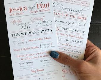 Wedding Programs | Coral & Grey Custom Wedding Program Design | Wedding Ceremony | Bridal Party | Custom Programs for Wedding