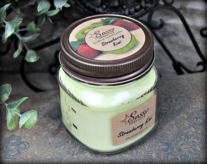 STRAWBERRY KIWI | Glass Mason Jar Candle | Sassy Kandle Co.