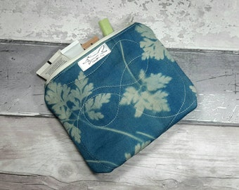 Pouch, purse, make-up bag, cyanotype, leaves, blueprint, navy, gift, stationery, birthday present, unique, ooak