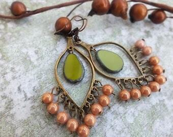 Boho earrings Chandelier Earrings Olive green Earrings Teardrop earrings Gypsy earrings Boho Brass Earrings Rustic Dangle Earrings