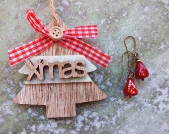 Red Opal earrings/Red&Gold Drop earrings/ Bridesmaids earrings/ Drop earrings /Boho Earrings/ Gift for girls