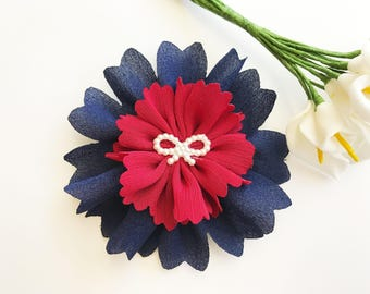 navy and red flower hair clip baby headband flower clips no slip baby barrette toddler hair clip toddler barrette kids hair clips f2