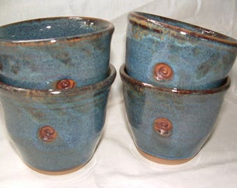 Handmade stoneware blue thumb cups--set of four