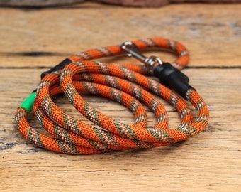 Climbing Rope Dog Leash // Burnt Orange Rust Green Dog Leash // Upcycled Dog Leash // 6' Leash