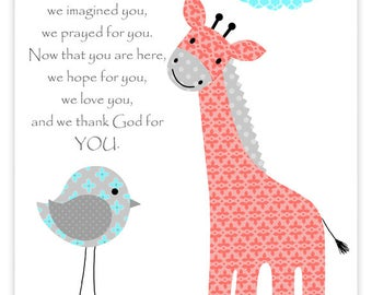 Before You Were Born, Giraffe Nursery, Aqua Coral Gray, Nursery Quote, Baby Decor, Nursery Wall Art, Giraffe Wall Art, Bird, Girl Room Decor