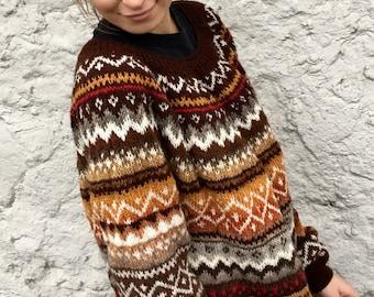 Fair Isle Sweater Norwegian sweater Dress Oversized Sweater Icelandic Sweater Long Sweater Women's sweater Made to order