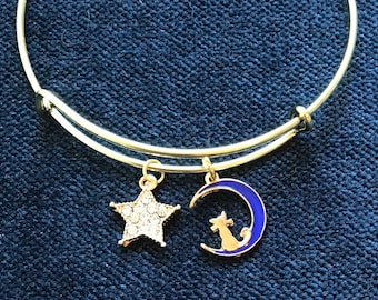 Cat and the Moon Bangle Bracelet