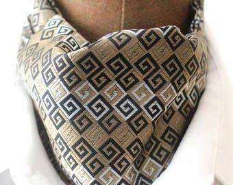 Ascot,men ascot,Ascot tie,beige-black ,Retrostyle