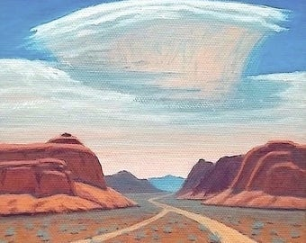 SALE - 'Junction Canyon' - original Landscape Painting - 6x6 - oil - desert - impressionist - turquoise - sky - clouds - Southwest art