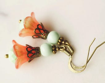 Earrings,  Mint and coral lucite flower dangle earrings