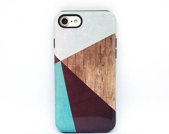 iPhone 7 case, iPhone 7 plus case, iPhone 6s, iPhone 6 case, iPhone 8 case, iPhone 5s case, phone case, iphone case - Geometric Wood