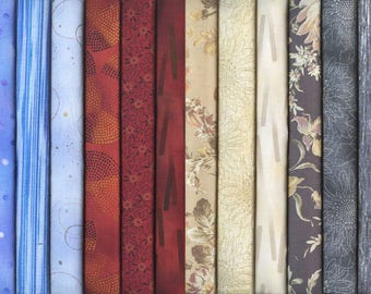 18 Japanese Taupe Fat Quarter Quilt Fabric Collection from Japan (4 1/2 Yds)