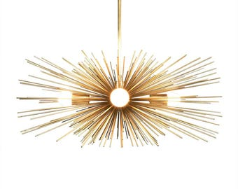 Gold Urchin Chandelier Lighting | Midcentury Modern Sputnik