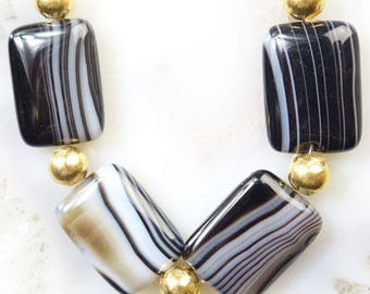 17mm/ Black/ Onyx /Agate/ Gemstone/ Rectangle/ Beads/ 17mm Focal Beads